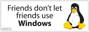 Наклейка Linux: Friends don't let friends use Windows