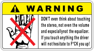 Наклейка Warning Dont touch Stereo