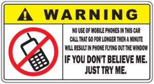 Наклейка Warning No Phones